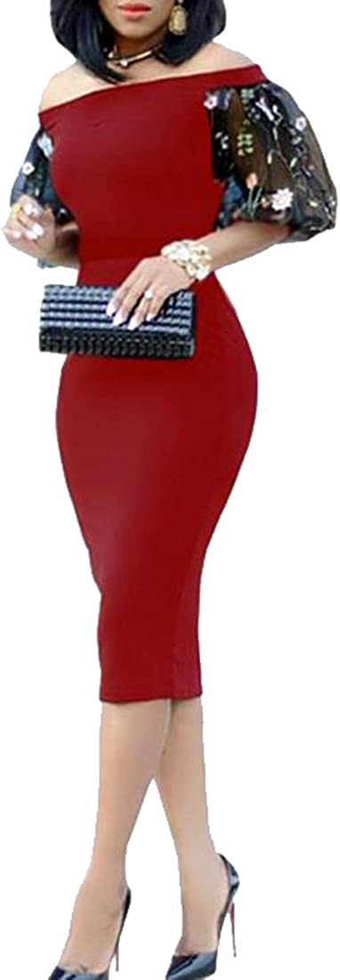 FSSE Women Bodycon Off The Shoulder Mesh Short Sleeve Clubwear Party Midi Dresses