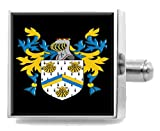 Select Gifts Bixby England Heraldry Crest Sterling Silver Cufflinks Engraved Message Box