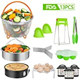 Instant Pot Accessories Set, 13 Pcs Pressure Cooker Accessories for 5 qt,6 qt,8 qt,with 2 Steamer Basket, Egg Rack, Non-stick Spring form Pan, Egg Bites Mold, 3 Magnetic Cheat Sheets,Oven Mitts