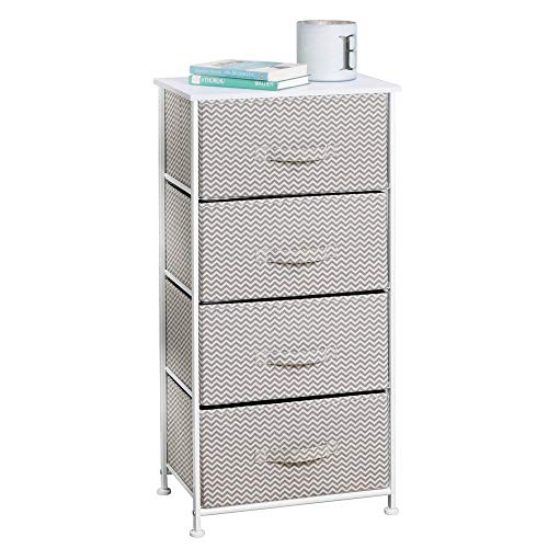 mDesign Vertical Furniture Storage Tower - Sturdy Steel Frame, Wood Top, Easy Pull Fabric Bins - Organizer Unit for Bedroom, Hallway, Entryway, Closets - Chevron Zig-Zag Print - 4 Drawers - Taupe