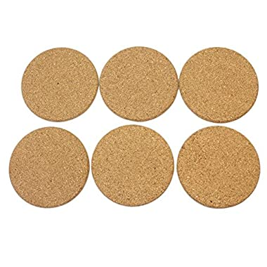 6Pcs Heat Insulation Round Cork Coaster Coffee Tea Cup Mat Pad for Household Use