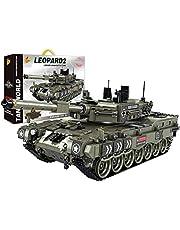 Tewerfitisme Teknik 1747Pcs WW2 pansarbyggsten SWAT militärpansar tegelsten vapen tysk leopard 2 pansar pansarbyggstensmodell kompatibel med Lego