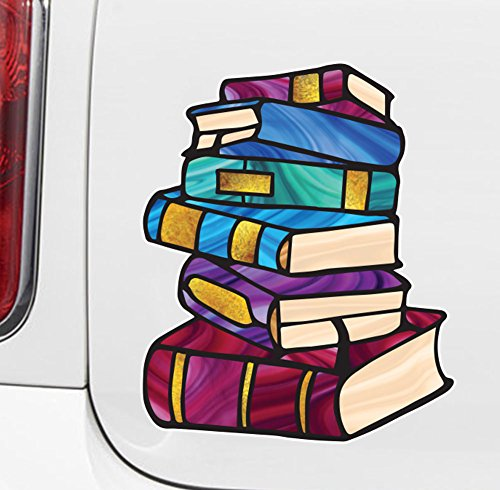 """Books - Stack Of Books - Library - Stained Glass Style Opaque Vinyl Car Decal - Copyright 2015 Yadda-Yadda Design Co. (MD 5""""w x 6""""h)"""