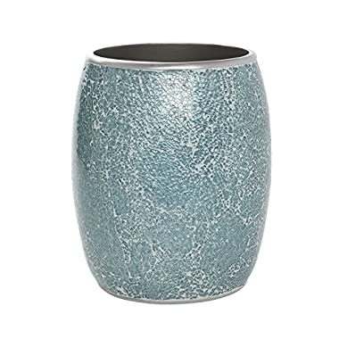 Zenna Home, India Ink Number 9 Floral Waste Basket, Aqua