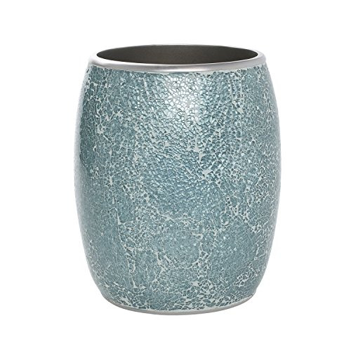 Zenna Home, India Ink Number 9 Floral Waste Basket, Aqua by Zenna Home