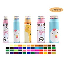 Colored Pencils Packed in Cute Cartoon Pencils Vase 12/18/24/36/48 Count Lead-Toxin Free for School Kids Adult Art Color Drawing