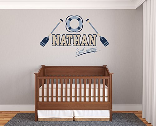 Custom Name Oars And Float - Prime Series - Baby Boy - Nursery Wall Decal For Baby Rom Decorations - Mural Wall Decal Sticker For Home Children's Bedroom (R57) (Wide 32