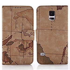 YULIN Teléfono Móvil Samsung - Cobertor Posterior/Fundas con Soporte - Gráfico/Diseño Especial/Nombre de Estilo Marca - para Samsung S5 i9600 ( Multi-color , Brown