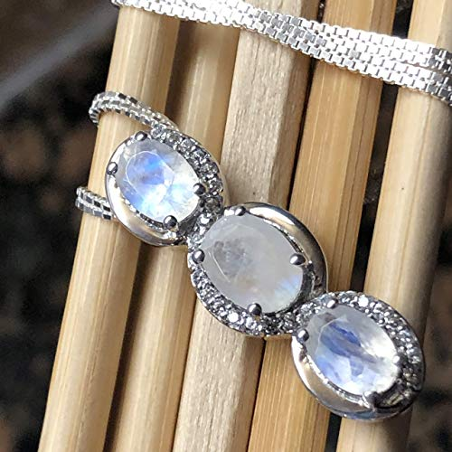 Genuine Rainbow Moonstone, White Sapphire 925 Solid Sterling Silver Pendant Necklace 16