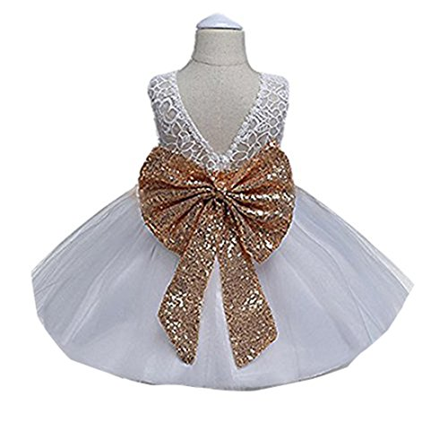 LINKEY Baby Girls Sparkly Stars Mary Jane with Lace Bowknot Wedding Princess Dress Shoe