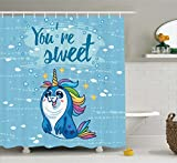Unicorn Shower Curtain Set by Ambesonne, 'You're Sweet' Quote with Baby Penguin Shaped Unicorn and Fish in the Sea Decor, Fabric Bathroom Decor with Hooks, 70 Inches, Blue