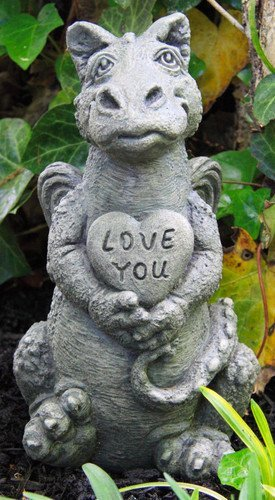 Cast Stone Garden Statues Amazon little darling dragon baby heart solid cast stone little darling dragon baby heart solid cast stone garden statue a great workwithnaturefo