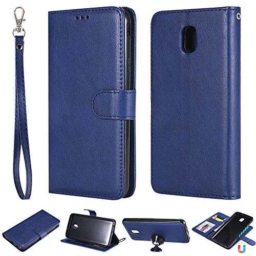 IVY 2 in 1 Wallet Case for Galaxy J7,[Detachable][Fit Magnetic Car Moun] Samsung J7 2018/Refine/Top/Crown/Aero/Aura/Eon/Star/J7 V 2nd Gen SM-J737 PU Leather Folio Flip Cover - Blue -