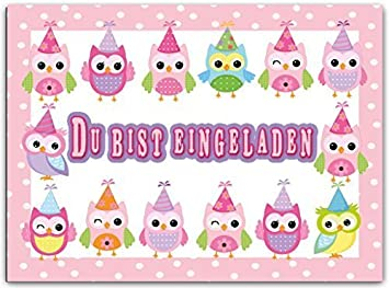 Außergewöhnlich Mädchen Kindergeburtstag Eulen Einladungskarte Einladung Geburtstag Pink  Rosa Geburtstagseinladung