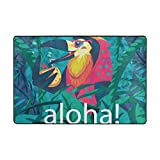 Vantaso Soft Foam Rugs Non Slip Hawaii Cute Parrot Palm for Kids Boys Girls Playing Room Living Room 36x24 inch