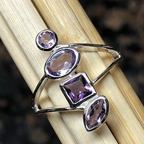 (Natural 2ct Rose de France Amethyst/Purple Amethyst 925 Solid Sterling Silver Stackable Ring sz 5.75, 6.75, 7.75)