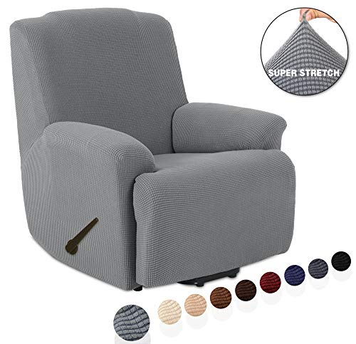 TIANSHU Stretch Recliner Covers, Recliner Chair Slipcovers,1 Piece Furniture Cover for Recliner Couch Cover with Pocket (Recliner, Light Gray)