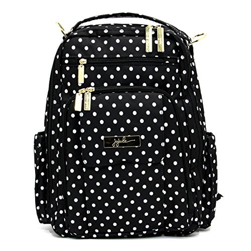 JuJuBe Be Right Back Multi-Functional Structured Backpack/Diaper Bag, Legacy Collection – The Duchess – Black with White Polka Dots