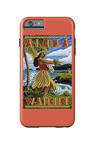 Waikiki, Hawaii - Aloha - Hawaii Hula Girl on Coast (iPhone 6 Plus Cell Phone Case Cell Phone Case, - With Kids Waikiki