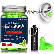 AMAZKER Anti-Noise Earplugs Soft Quiet Sleeping Ear Plugs With Aluminum Carry Case No Cords Noise Reduction Perfect For Study Sleeping Working Travel Snoring SNR 35dB 50 Pairs (Bright Green)