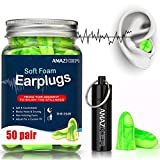 AMAZKER Anti-Noise Earplugs Soft Quiet Sleeping Ear Plugs With Aluminum Carry Case No Cords NoiseReductionPerfect For Study SleepingWorking Travel Snoring SNR 35dB 50 Pairs
