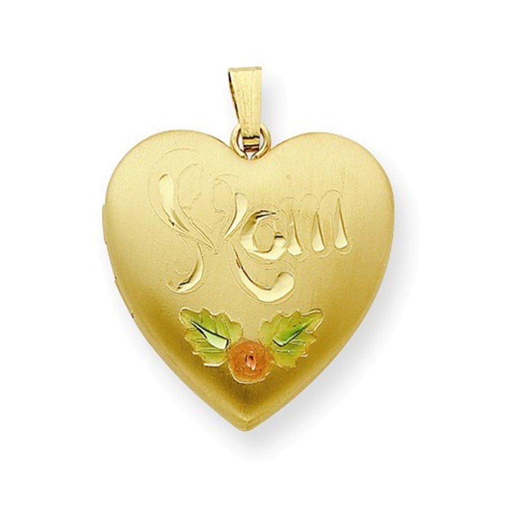 Gold Plated Sterling Silver 24mm Satin D//C Mom Locket Enameled