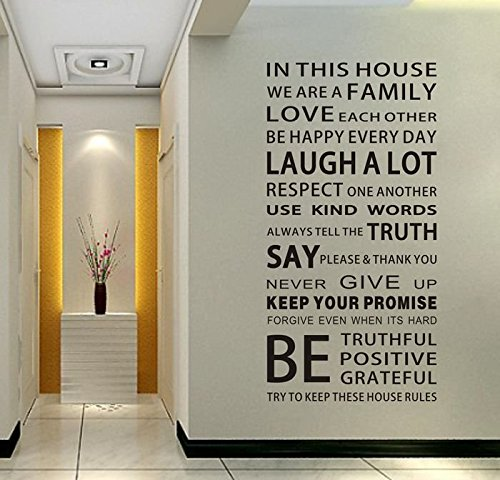 EMIRACLEZE Christmas Gift We are Family Quote English Letter Removable Mural Wall Stickers Wall Decal for Living Room Home Decor (Wall Decals Dorm Room)