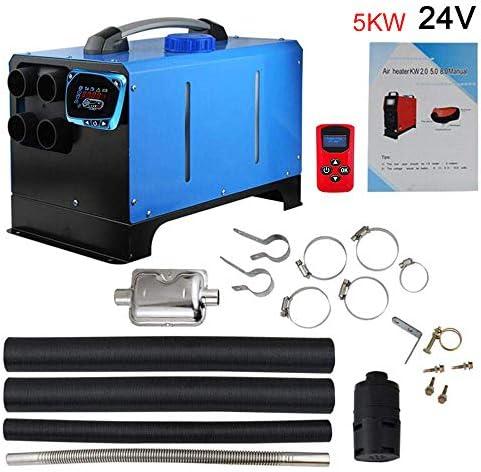 カーヒーター、5kw 12v / 24vディーゼルエアヒーター、エアパーキングヒーターオールインワンエアディーゼルパーキングヒーターリモートコントロール付き液晶スクリーンスイッチ