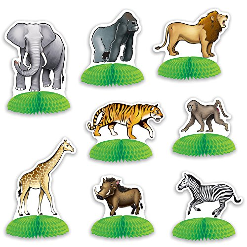 Beistle 53374 Jungle Safari Animal Mini Tissue Centerpieces 3