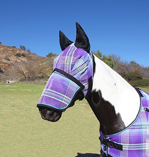 Kensington Signature Fly Mask with Removable Nose and Soft Mesh Ears - Protects Horses Face, Nose and Ears from Biting Insects and UV Rays While Allowing Full Visibility