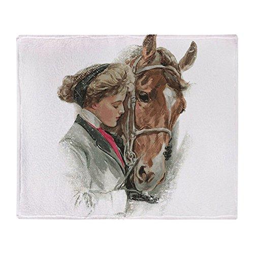 (CafePress Vintage Girl and Horse Soft Fleece Throw Blanket, 50