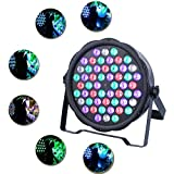 JUDYelc 54 LED Parabolic Aluminum Reflector(PAR) 7 Channels Lights for Stage flashing with 4 Work Models RGB Poweful Stage Lamp 100W Big Power for DJ Club Wedding Family Party Disco Celebration