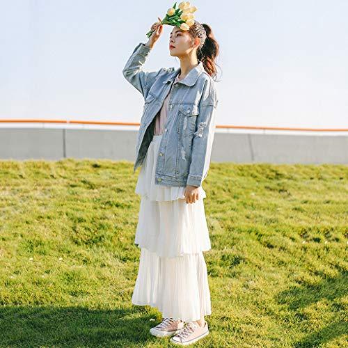 Clair Femme Veste Jean En À Clair Air Taille Zen couleur Longues Décontractée Bleu Manches L nUw7q5Yf