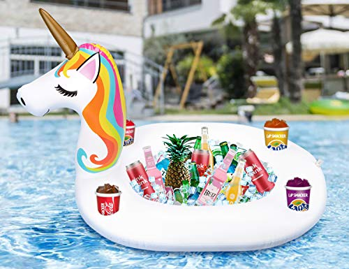 Inflatable Unicorn Serving Bar - Floating Ice Tray Food Drink Salad Candy Holder Pool Party Supplies Beverage Fruit Buffet Picnic BBQ Cooler ()