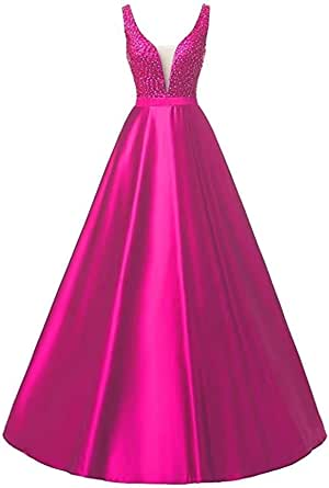 RJOAM Women's Deep V-Neck Prom Dress With Straps Beaded