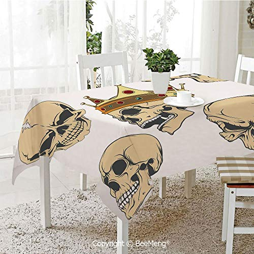 BeeMeng Dining Kitchen Polyester dust-Proof Table Cover,Skull Decor,Skulls Different Expressions Evil Face Crowned Death Monster Halloween,Sand Brown Yellow,Rectangular,59 x 59 -