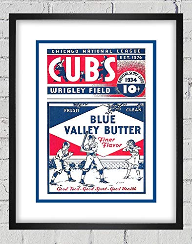 1934 Vintage Chicago Cubs Baseball Program Cover - Blue Valley Butter - Digital Reproduction - Print or Matted Print or Framed Matted Print
