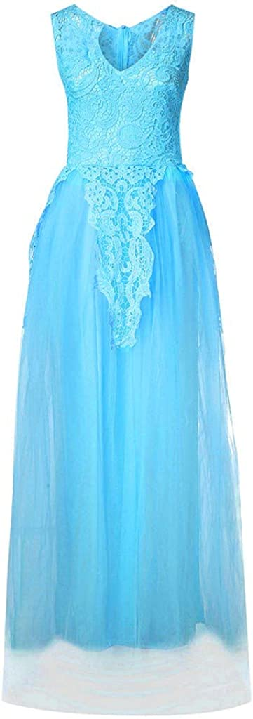 Gergeos Womens Fashion Sleeveless Elegant Lace Wedding Chiffon Evening Party Dress Bride Ball Gown