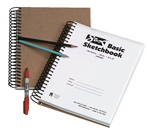 Sax S100237 Basic Spiral Sketchbook with 100 Sheets, 8'' x 10'' Size, White