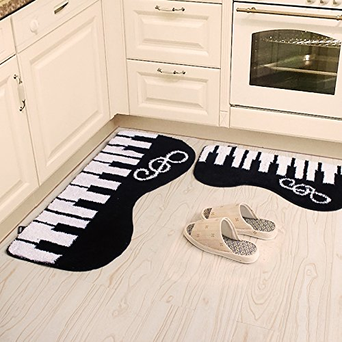 Piano White Rug (Ustide 2-Piece Black and White Piano-Shaped Carpet Bedroom Rug Set Soft and Shag Bathroom Mat Set Non-Slip Floor Runner Rugs)