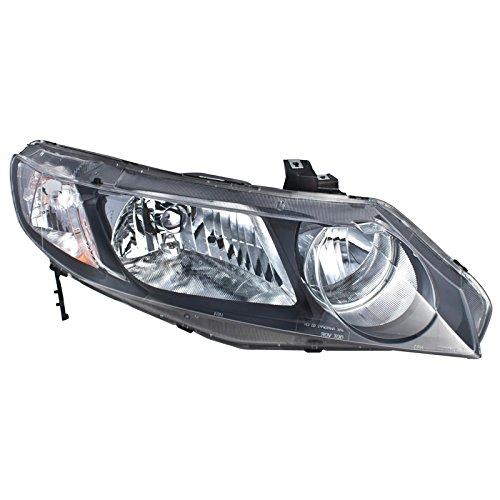 CarPartsDepot 09-10 CIVIC 4DR PASSENGER HEAD LAMP LIGHT WO BULB 06-11 HONDA CIVIC HYBRID RIGHT