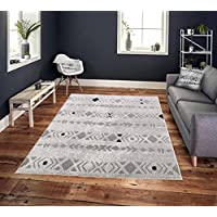 Cosi Collection Easy Clean Stain and Fade Resistant Grey Diamonds Area Rug for Bedroom Kitchen Dining Living Room, Modern Geometric Space Design (Size 5' x 7' Feet)
