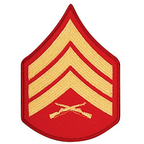 Medals of America United States Marine Corps (USMC) Chevron Gold Embroidered on red SGT Sergeant Red ()