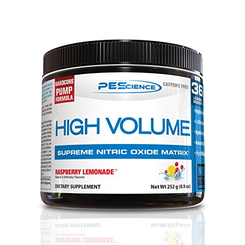 PEScience High Volume Caffeine Free Pump Pre Workout, Raspberry Lemonade, 252 Gram (Infinite Raspberry)