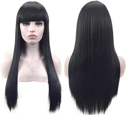 WADEO Peluca Negra Larga Pelucas Mujer Pelo Natural Lisa Popular Casi Igual que el Pelo Real, el Longitud del 60cm: Amazon.es: Belleza