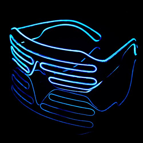 LED Light Up Glasses Sound Activated Shutter EL Wire Neon Glasses with Controller for Halloween Bar Glowing Party Mask Decor Blue Green and Pink