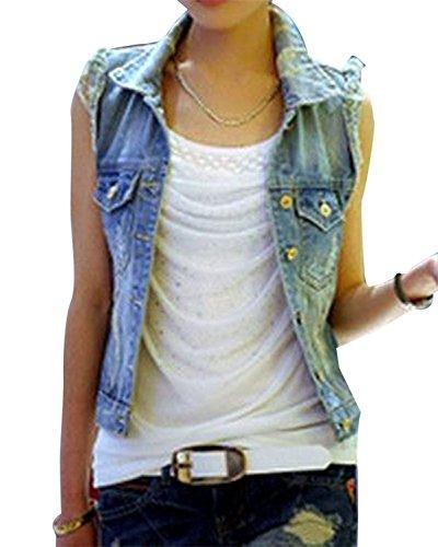 Cystyle Damen Ausfransen Weste Jacke Ärmellos Einfache Beiläufige Jeansweste