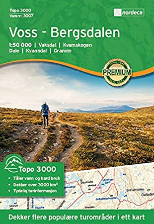 Hiking Map Norway Voss Bergsdalen Topo 3000 1 50 000 Amazon Co