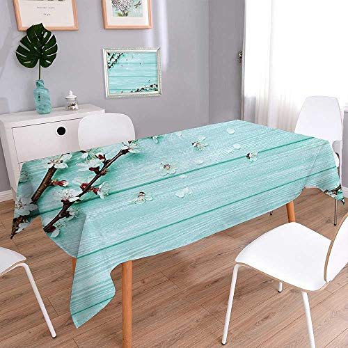 Cherry Plank Table (Jiahonghome Decorative Jacquard Rectangle Tablecloth Cherry Blossom Petals Branch on Rustic Wooden Planks Seasonal Picture White Brown Seafoam Resistant and Waterproof Tablecloths)