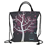 Best custom built bird cage - 3D Print Drawstring Bag String Backpack,Tree,Tree with Bird Review